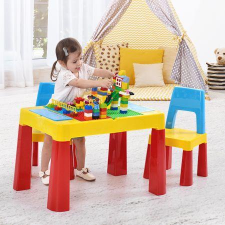 Costway 7 in 1 Kinder Aktivitätstisch mit 2 Stühlen Spieltisch Bausteintisch Sandtisch Wassertisch