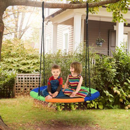 Costway Baumschaukel Nestschaukel Kinderschaukel  Rundschaukel Indoor-Outdoor-Schaukel Bunt