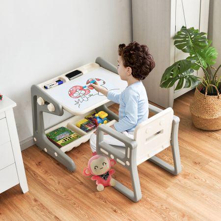 Costway 2 in1 Magnetische Maltafel&Zeichentisch mit Hocker Kinderschreibtisch Sitzgruppe