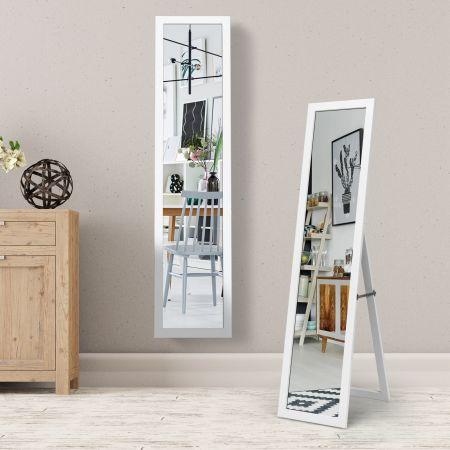 Costway 2 in 1 Ganzkörper-Spiegel Ganzkörperspiegel mit Holzrahmen 37 x 155 cm Weiß