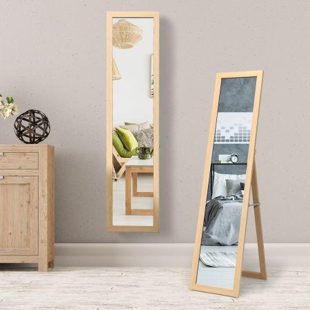 Costway 2 in 1 Ganzkörperspiegel Standspiegel und Wandspiegel mit Holzrahmen 37 x 155 cm Natur