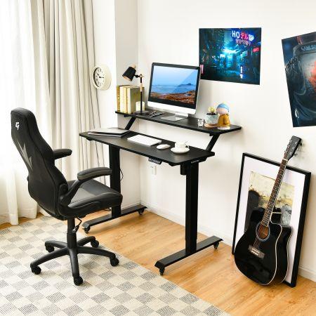 Costway Schreibtisch höhenverstellbar Computertisch auf Rollen Arbeittisch 120 x 68 x 88,5-137,5 cm  Schwarz