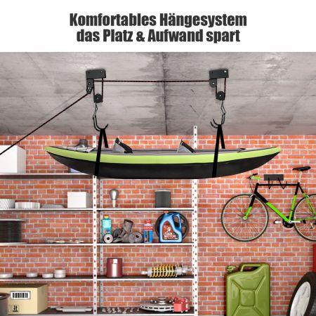 COSTWAY Kajak-Deckenlift Kanu-Lagerlift mit verstellbarem Aufhängesystem mit Haken und Seilrolle