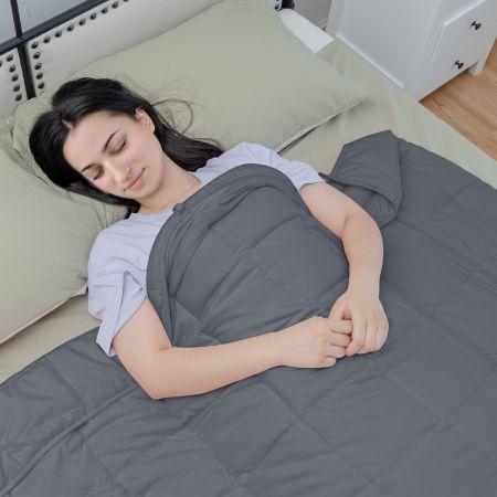 Costway 9,1 kg Gewichtete Decke mit Aufbewahrungstasche schwere Decke 183 x 122 cm Grau