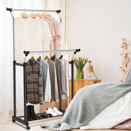 Kleiderständer Garderobenständer Wäscheständer mit Schuhablage rollbar
