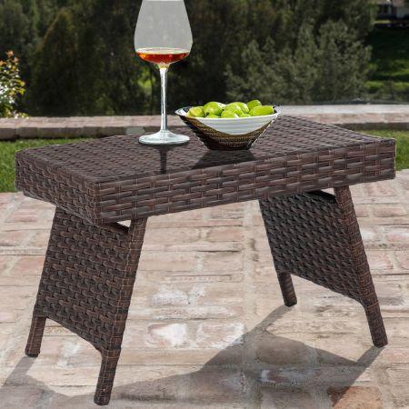 Rattan Tisch Klappbarer  Kleiner Gartentisch Bistrotisch mit Stahlgestell Braun 60 x 40 x 39 cm