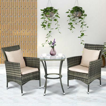 Costway Garten Polyrattan Sitzgruppe Outdoor Sitzgarnitur Balkon-Set mit Sitzkissen