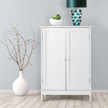 Coswtay Badezimmerschrank Verstellbarer Einlegeboden Badschrank Sideboard Weiß 60 x 35 x 87 cm