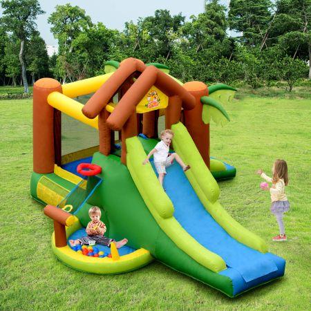 COSTWAY Hüpfburg aufblasbar Springburg mit 30 Bälle Hüpfschloss mit Rutsche Spielburg für Kinder 390 x 340 x 230 cm