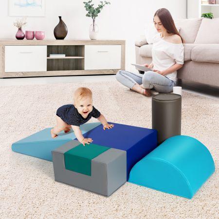 Costsway 6 tlg.Softbausteine Kinder Großbausteine Riesenbausteine Schaumstoffbausteine Blau