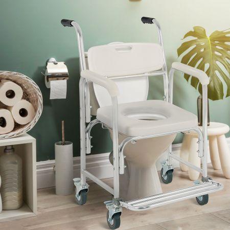 Costway Toilettenstuhl Toilettenrollstuhl  Nachtstuhl Rollstuhl mit klappbarer Fußstütze