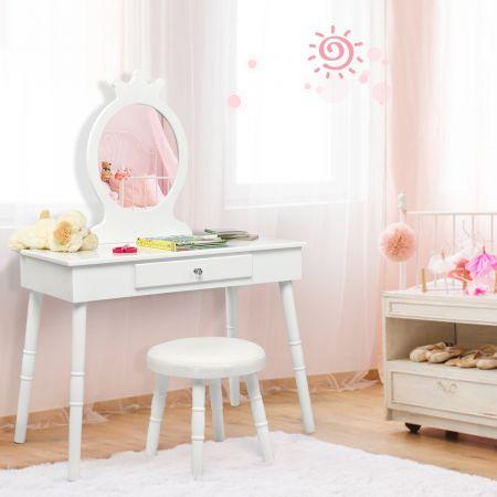 Costway Kinder Schminktisch Make-up Tisch Hocker&Spiegel Frisierkommode Frisiertisch Weiß