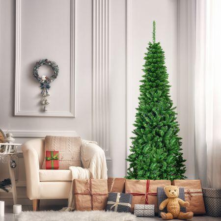 Costway 200cm schmaler Weihnachtsbaum mit warmweißen LEDs künstlicher Tannenbaum faltbar mit Metallständer & PVC Nadeln Grün