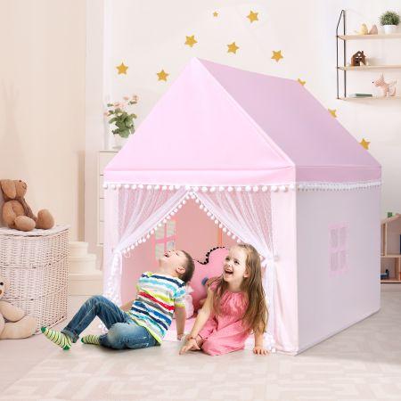 Costway Kinderzelt Spielhaus Kinderspielhaus Prinzess Prinzessin Kinderspielzelt Rosa