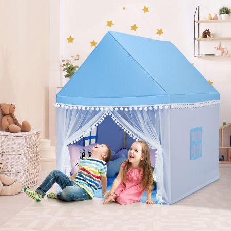 Costway Kinderzelt Spielhaus Kinderspielhaus Prinzess Prinzessin Kinderspielzelt Blau