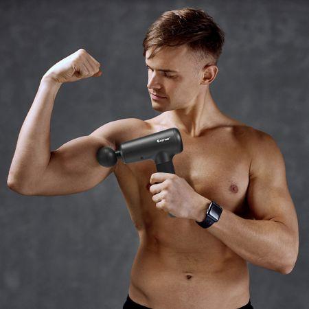 Costway Massagepistole mit 6 Massageköpfen Massage Gun mit LCD-Bildschirm Muskelmassagepistole Schwarz