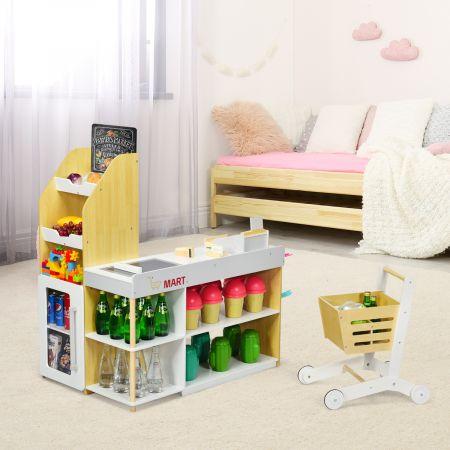 Costway Supermarkt-Spielset mit Einkaufswagen Kinderkassierenspielzeug Rollenspiel supermarkt für kinder