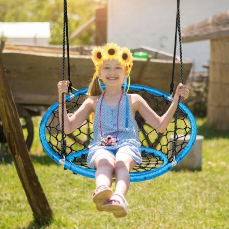 Costway Hängeschaukel Baumschaukel Nestschaukel verstellbaren Kinderspielgerät für drinnen und draußen Blau