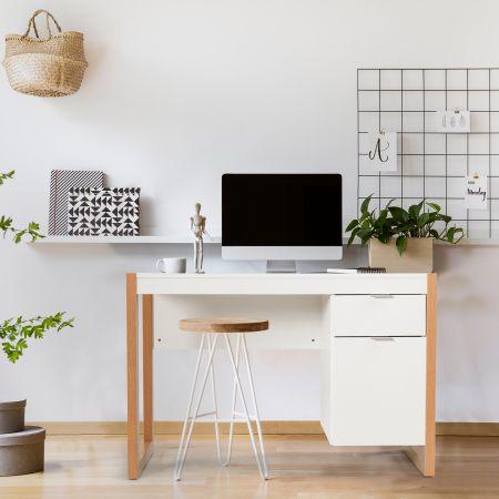 Costway Moderner Computer-Schreibtisch Schreibtisch mit Aufbewahrungsschrank 112,5 x 50 x 75 cm Weiß