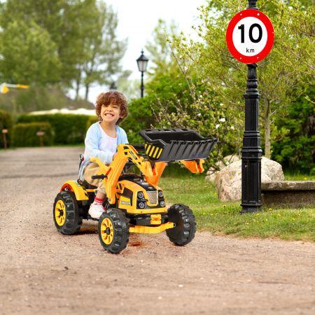 Costway Elektrischer Kinder-Gabelstapler Kinderbagger Sitzbagger mit Schaufel 149 x 62 x 74 cm Gelb + Schwarz