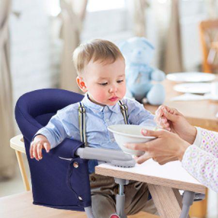 Baby Tischsitz Babysitz klappbar mit Befestigungsclip Hochstuhl Dunkelblau