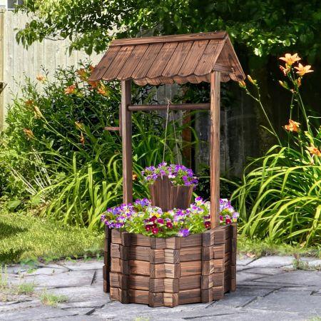 Costway Wunschbrunnen für Draußen Holzbrunnen Eimer Blumenkübel Blumentopf mit Dach
