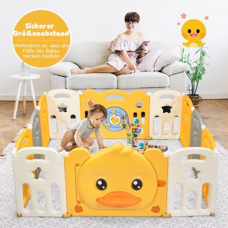 Costway 12 Paneele Laufgitter Baby Laufstall faltbar Absperrgitter mit Tür und Spielzeugboard Krabbelgitter Gelb