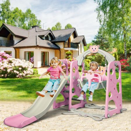 Costway 4 in 1 Kinder Spielplatz Kinder Rutsche & Schaukel Gartenschaukel Rosa