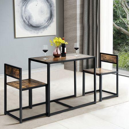 Costway 3 tlg. Tischgruppe Essgruppe Bartisch-Set Küchentisch Esstisch Tisch + 2 Stühle Antik