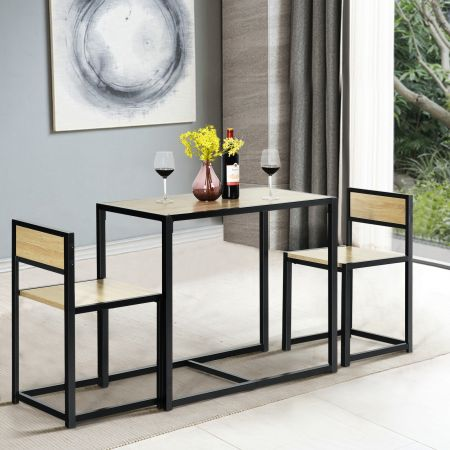 Costway 3 tlg. Tischgruppe Essgruppe Bartisch-Set Küchentisch Esstisch Tisch + 2 Stühle Natur
