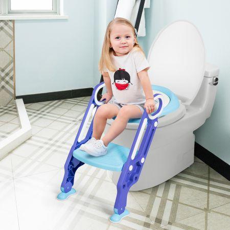 Costway Kinder Toilettensitz höhenverstellbar Kindertoilette faltbar Toilettentrainer mit Leiter und Griffe Toilettentraining Lila und Blau