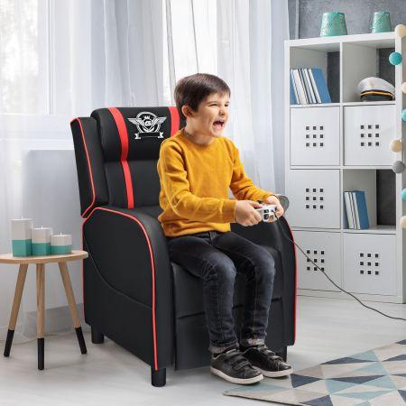Costway Gamingsessel aus PU Leder verstellbarer moderner Wohnzimmerses Rot