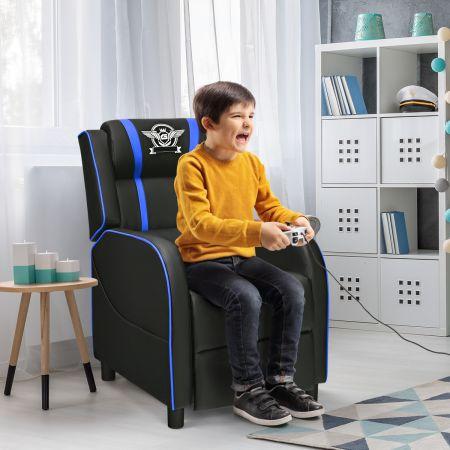 Costway PU-Ledersessel Gaming-Ruhesessel verstellbarer Wohnzimmersessel Blau