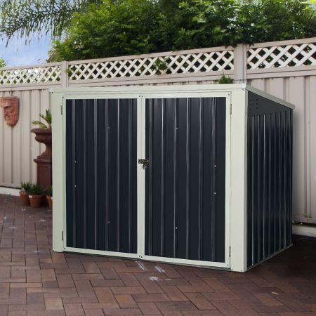 Costway Gartenbox Wasserdicht Mülltonnenbox Garten Gerätebox Metall Dunkelgrau 173 x 97x 134 cm
