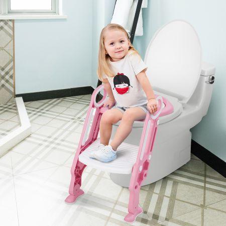 Costway Kinder Toilettensitz höhenverstellbar Töpfchentraining Toilettensitz faltbarer Toilettentrainer Sitz Rosa