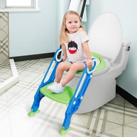 Costway Kinder Toilettensitz höhenverstellbar Töpfchentraining Toilettensitz mit Tritthocker Leiter Kindertoilette Blau und Grün