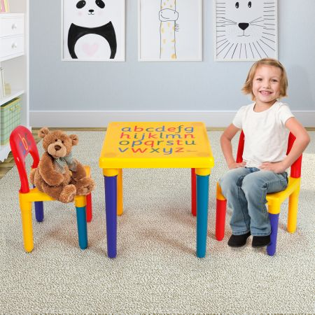 Costway Kindermöbel 3 tlg. Kindersitzgruppe inkl.Kinderstuhl und Tisch Farbig