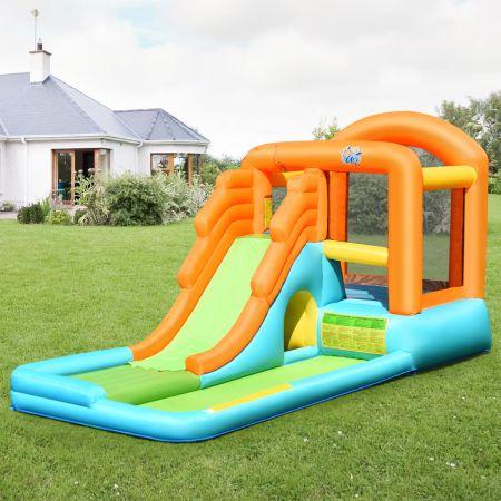 Costway Hüpfburg aufblasbar Spielpool Wasserspiel Wasserpark mit Wasserrutsche 490 x 225 x 240 cm