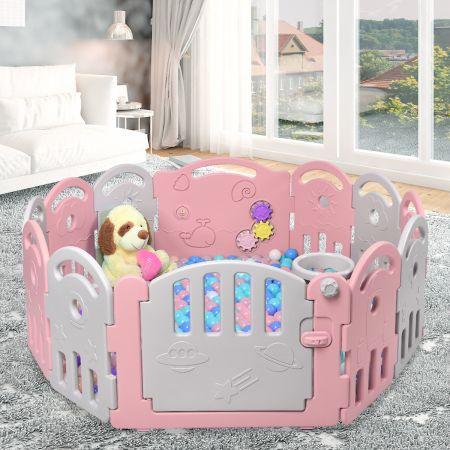 Laufgitter mit 12 Paneelen Baby Laufstall Krabbelgitter aus Kunststoff Krabbelzaun Schutzzaun für Kinder Spielzaun rosa