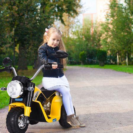 Costway Elektro Motorrad Kindermotorrad Elektromotorrad mit Stützrädern 57 x 72 x 56 cm Gelb