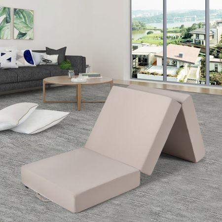 3-teilige Faltmatratze Klappmatratze aus Schaumstoff Gästematratze klappbar 195 x 75 x 15cm Beige