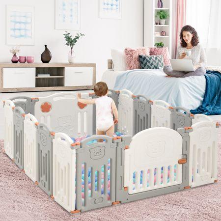 Costway Baby Laufgitter 16 Paneele Laufstall Absperrgitter mit Tür