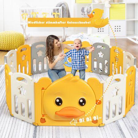Costway 14 Paneele Laufgitter Baby Laufstall faltbar Absperrgitter mit Tür und Spielzeugboard Krabbelgitter Gelb