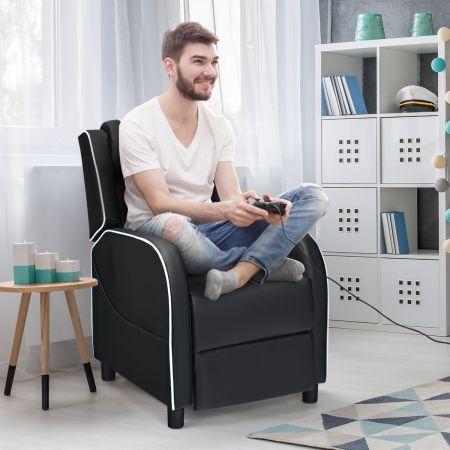 Costway Gaming-Ruhesessel Fernsehsessel Relaxsessel verstellbarer aus PU Leder Weiß