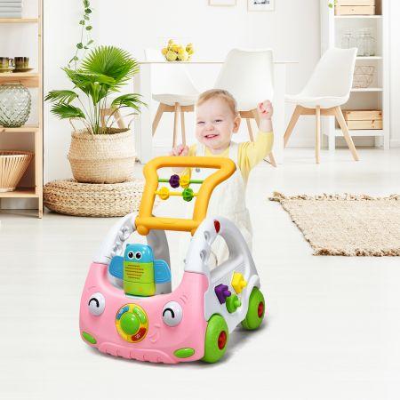 Costway 3 in 1 Lauflernhilfe Lauflernwagen Höhenverstellbar Baby Walker Spielwagen mit Musik & Licht Blau/Rosa