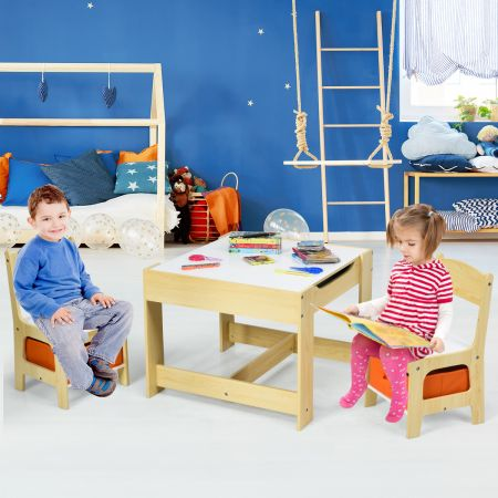 Costway Kindersitzgruppe 3 tlg. Kindermöbel Kinderstuhl & Tisch Holz
