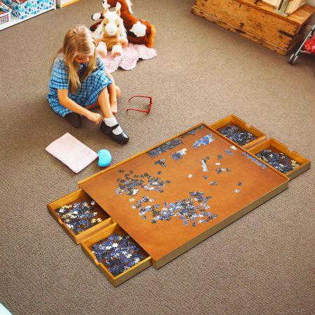 Costway Puzzletisch mit 4 Schubladen Puzzle Board Holz 80 x 65cm