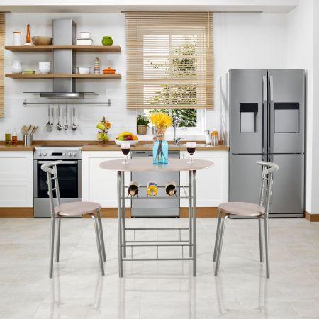 Tischgruppe 3 tlg Minimalismus Design Küche Essgruppe Esszimmergarnitur Grau
