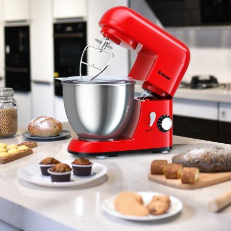 Costway 4L 1300W Standmixer Neigbarer Kopf Mixer Teigmaschine mit Edelstahl Rührschüssel 33,5 x 23,5 x 30,5 cm Rot