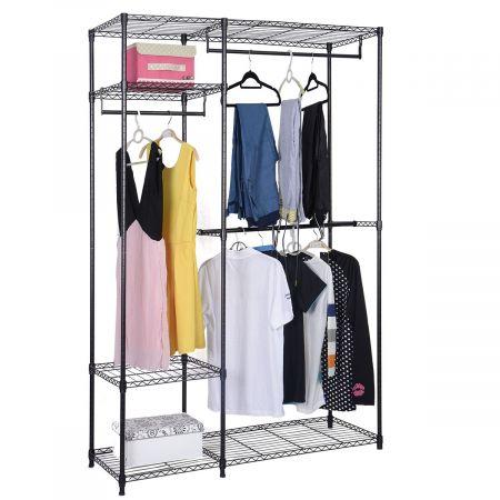 COSTWAY 120 x 45 x 180 cm Metall Kleiderschrank Stoffschrank mit Kleiderstange